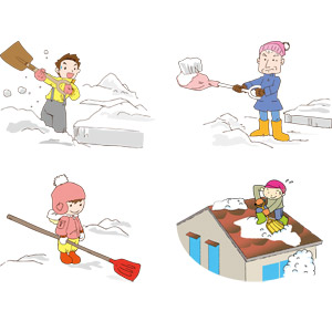 フリーイラスト, ベクター画像, AI, 人物, 男性, 祖父(おじいさん), 女の子, 雪, 雪かき, 冬, スコップ(シャベル)