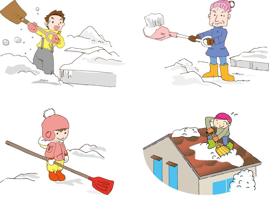フリーイラスト 4種類の雪かきのセット