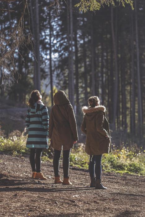 フリー写真 並んで天を見上げる三人の女友達の後ろ姿