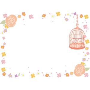 フリーイラスト, ベクター画像, AI, 背景, フレーム, 囲みフレーム, 鳥かご, 植物, 花, 花柄, 薔薇(バラ)