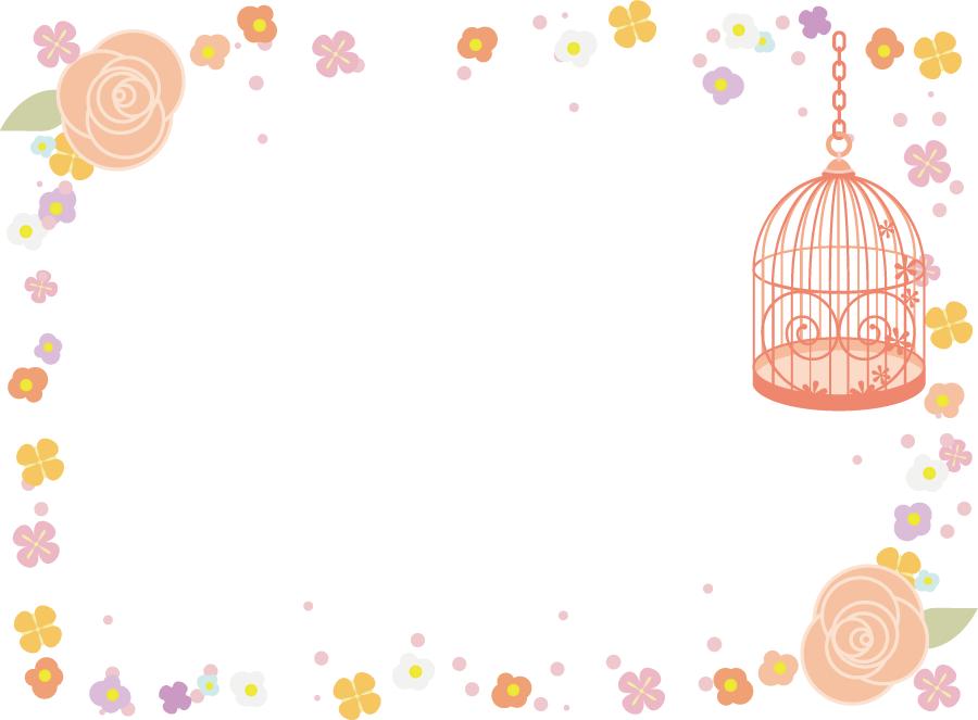 フリーイラスト 鳥かごと花の飾り枠