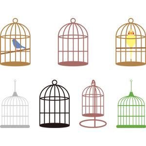 フリーイラスト, ベクター画像, AI, ペット用品, 鳥かご, 動物, 鳥類, 鳥(トリ), 青い鳥, インコ, オカメインコ