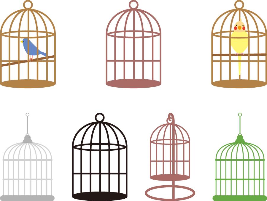 フリーイラスト 7種類の鳥かごのセット