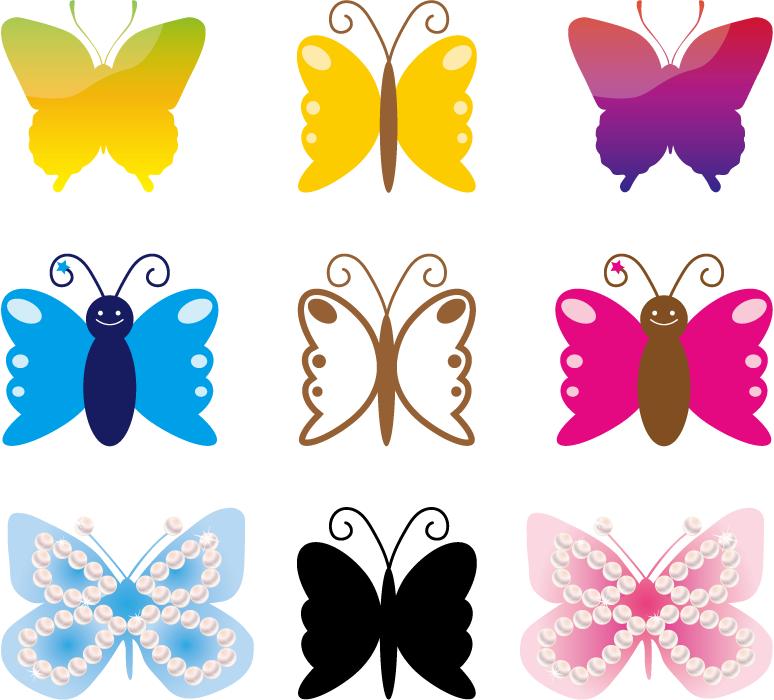 フリーイラスト 9種類の蝶のセット