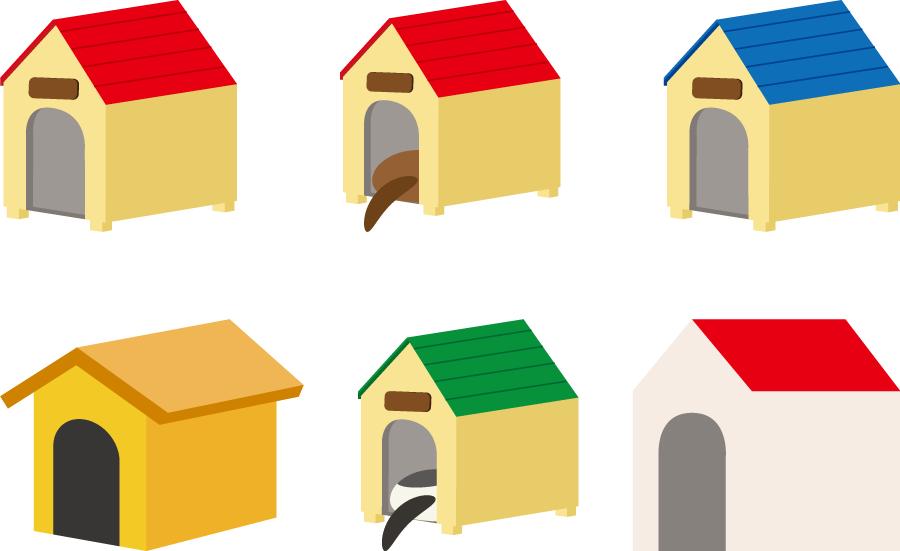 フリーイラスト 6種類の犬小屋のセット