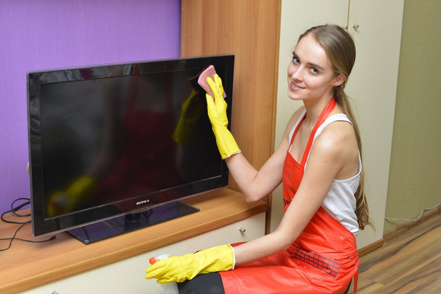 フリー写真 液晶テレビを掃除する外国人女性