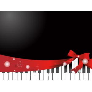 フリーイラスト, ベクター画像, AI, 背景, 音楽, 楽器, 鍵盤楽器, ピアノ, リボン, 蝶リボン