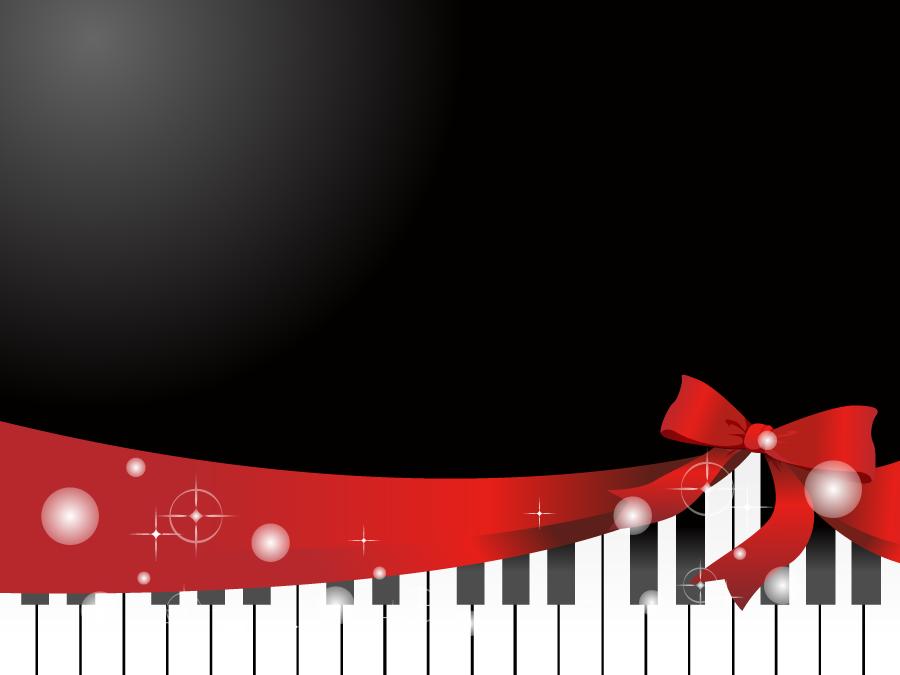 フリーイラスト ピアノとリボンの背景