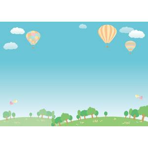 フリーイラスト, ベクター画像, AI, 風景, 空, 青空, 乗り物, 熱気球, 小鳥