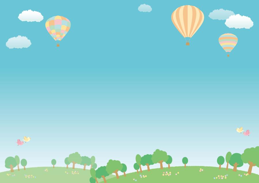 フリーイラスト 熱気球が浮かぶ青空の風景