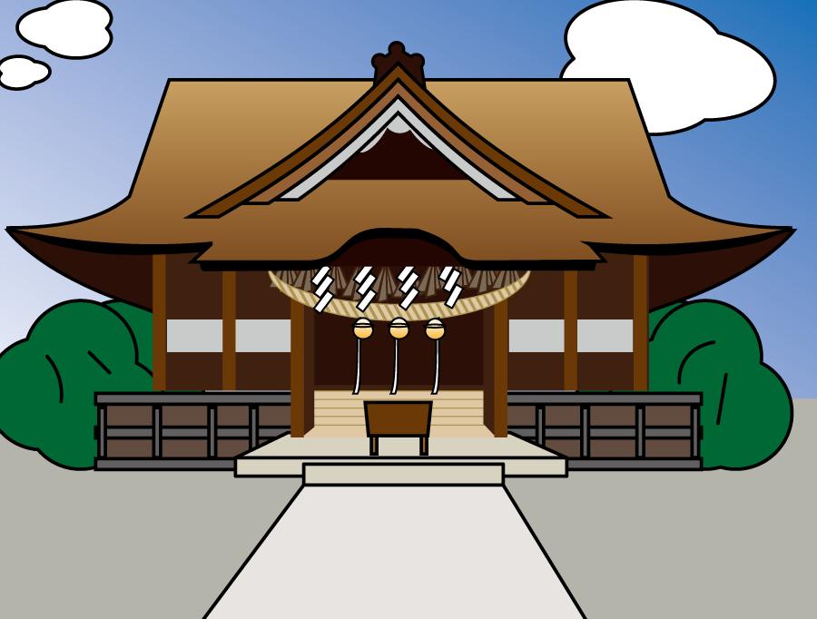 フリーイラスト 神社の拝殿