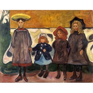 フリー絵画, エドヴァルド・ムンク, 人物画, 子供, 女の子, 四人