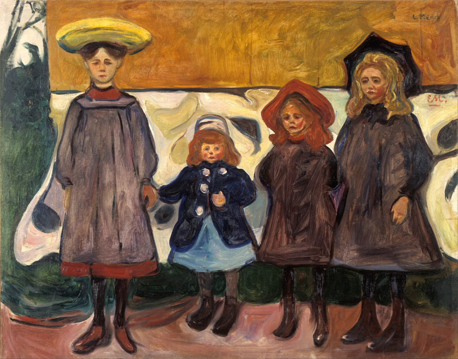 フリー絵画 エドヴァルド・ムンク作「オースゴールストラントの4人の少女たち」