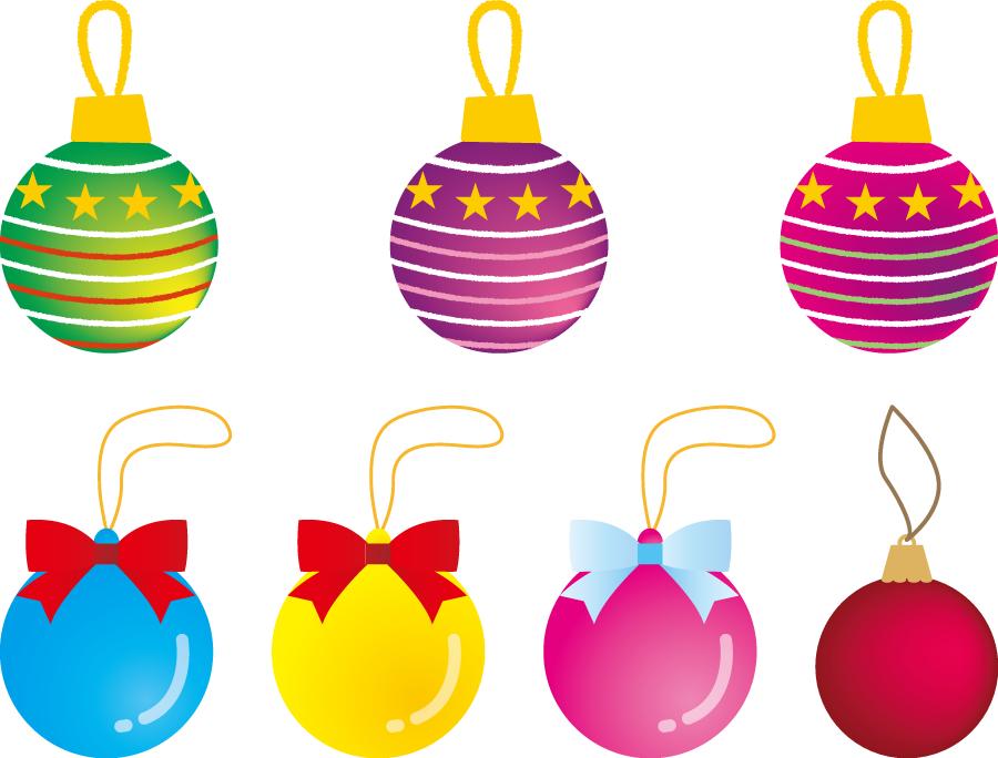 フリーイラスト 7種類のクリスマスオーナメントのセット