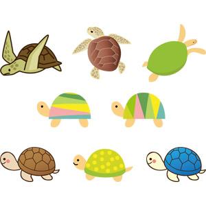 フリーイラスト, ベクター画像, AI, 動物, 爬虫類, 亀(カメ), ウミガメ