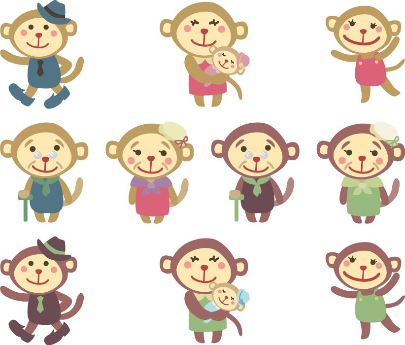 フリーイラスト 10種類の猿の家族のセット