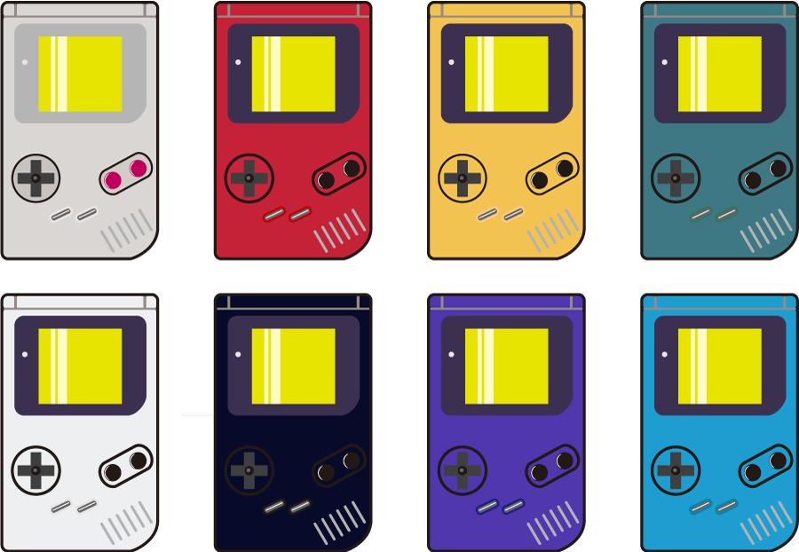 フリーイラスト 8種類のゲームボーイのセット