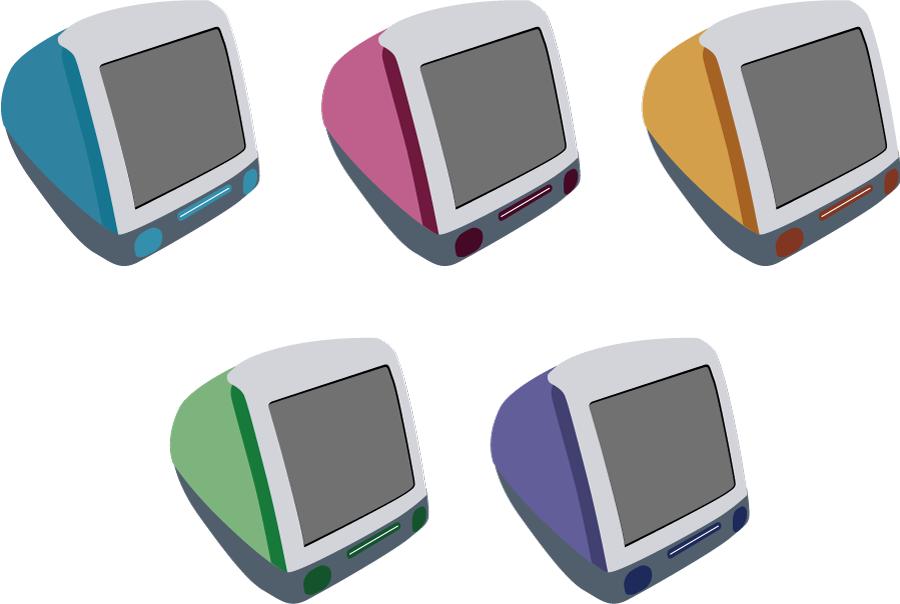 フリーイラスト 5種類のiMacのセット