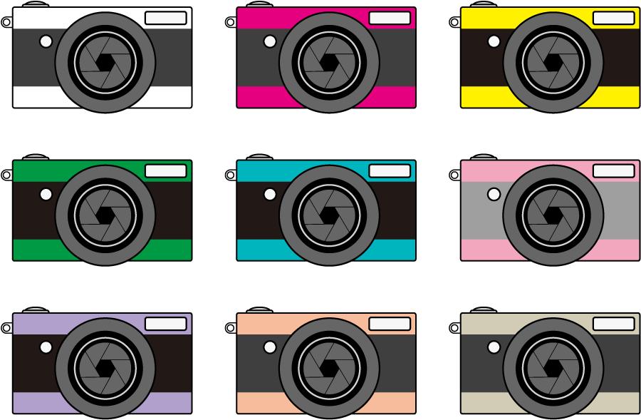 フリーイラスト 9種類のカメラのセット