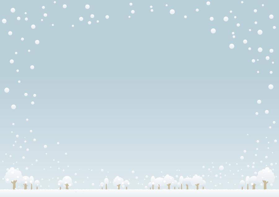 フリーイラスト 雪景色の飾り枠