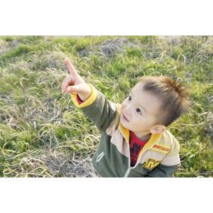 フリー写真, 人物, 子供, 男の子, アジアの男の子, 日本人, 指差す, 左上を指す