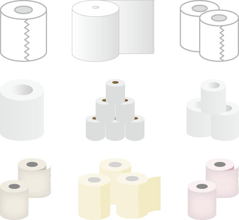 フリーイラスト 9種類のトイレットペーパーのセット