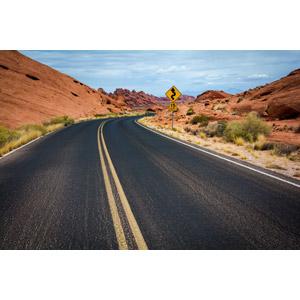 フリー写真, 風景, 道路, 岩山, バレー・オブ・ファイアー州立公園, アメリカの風景, ネバダ州