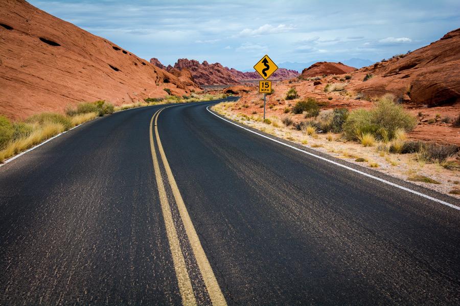 フリー写真 バレー・オブ・ファイアー州立公園の道