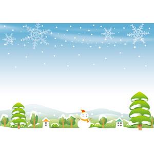 フリーイラスト, ベクター画像, AI, 風景, 田舎, 住宅, 家(一軒家), 雪だるま, 冬, 雪, 雪の結晶