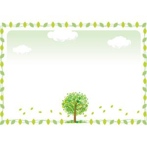 フリーイラスト, ベクター画像, AI, 背景, フレーム, 囲みフレーム, 樹木, 植物, 葉っぱ, 新緑