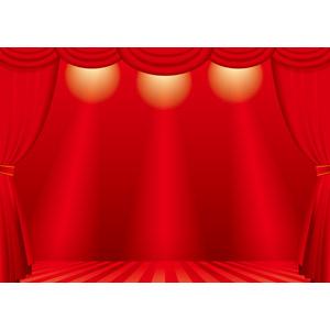 フリーイラスト, ベクター画像, AI, 風景, 舞台幕, 舞台(ステージ), 赤色(レッド)