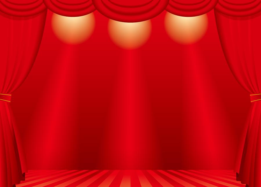 フリーイラスト 舞台幕と舞台の風景