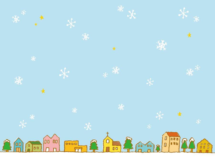 フリーイラスト 雪が降る街の風景