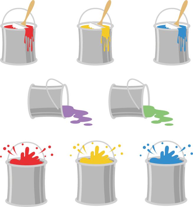 フリーイラスト 8種類のペンキ缶のセット