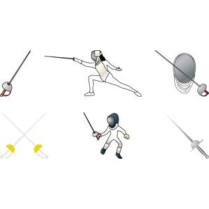 フリーイラスト, ベクター画像, AI, フェンシング, スポーツ, 武術, 武器, 刀剣, サーブル