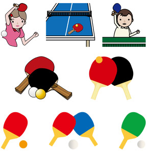 フリーイラスト, ベクター画像, AI, スポーツ, 球技, 卓球(ピンポン), ラケット(卓球), ピン球, 卓球台, 人物, 少年, 少女