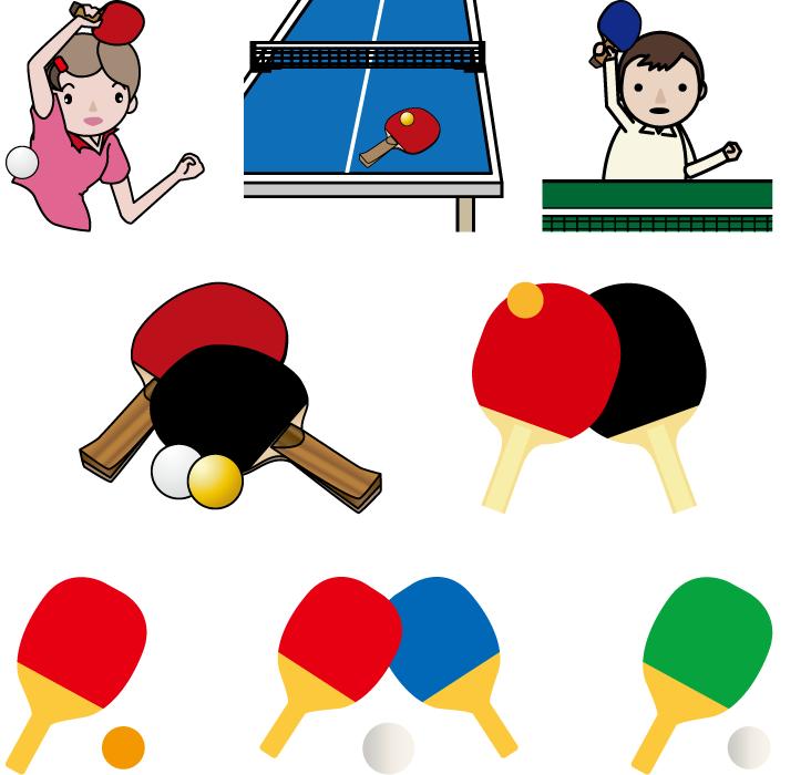 フリーイラスト 8種類の卓球のセット