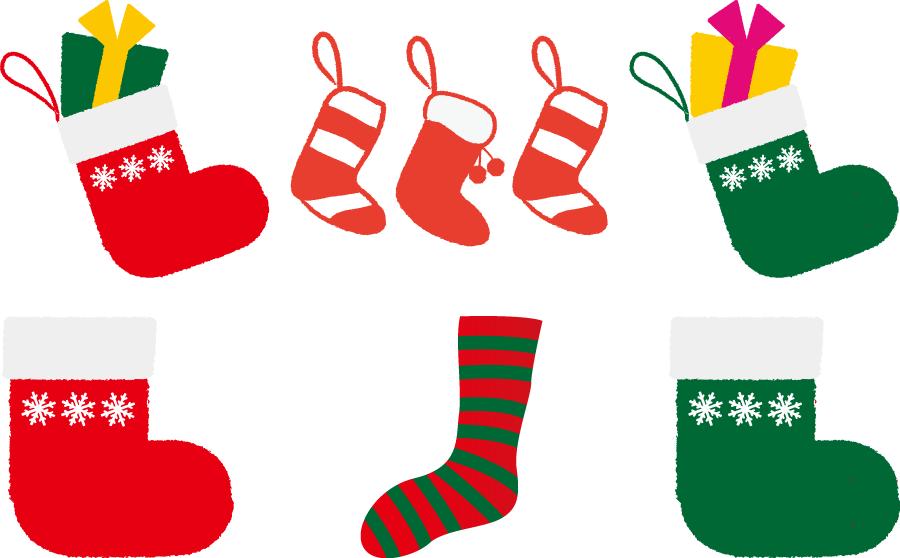 フリーイラスト 6種類のクリスマスソックスのセット