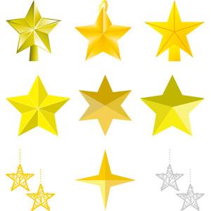 フリーイラスト, ベクター画像, AI, 年中行事, クリスマス, 12月, 星(スター), 飾り(装飾)