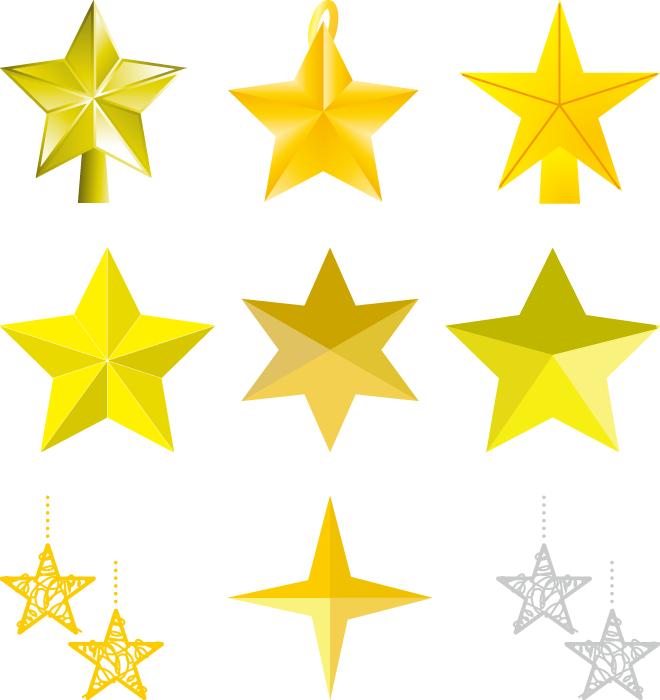 フリーイラスト 9種類のクリスマスの星の飾りのセット