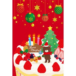 フリーイラスト, ベクター画像, EPS, 年中行事, クリスマス, 12月, 冬, クリスマスボール, クリスマスプレゼント, クリスマスケーキ, ショートケーキ, クリスマスツリー, ろうそく(ロウソク), セイヨウヒイラギ, 小鳥, 栗鼠(リス), 熊(クマ)