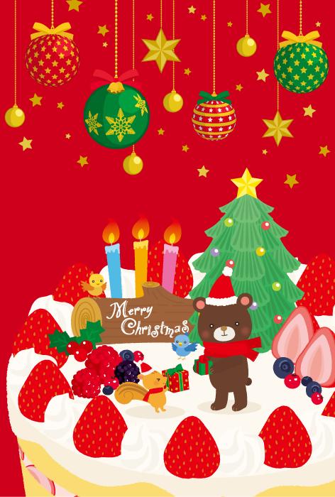 フリーイラスト クリスマスケーキの上でプレゼント交換する動物たち