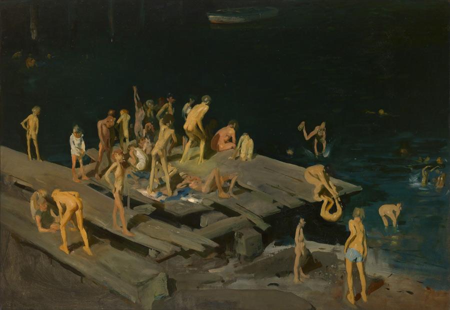 フリー絵画 ジョージ・ベローズ作「42人のこども」