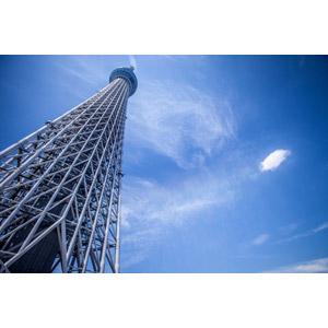 フリー写真, 風景, 建造物, 建築物, 塔(タワー), 東京スカイツリー, 東京, 日本の風景, 青空