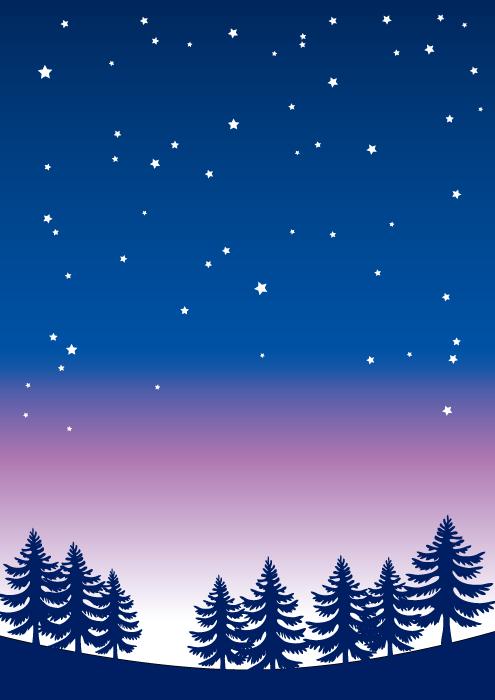 フリーイラスト 日暮れの星空の風景