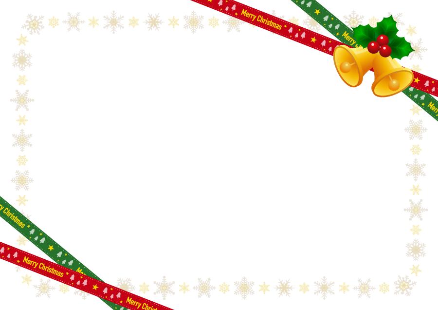 フリーイラスト クリスマスベルと雪の結晶のフレーム