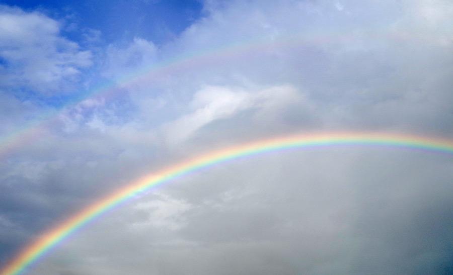 フリー写真 二重の虹の風景