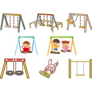 フリーイラスト, ベクター画像, AI, 遊具, ブランコ, 人物, 子供, 男の子, 女の子, 兎(ウサギ)