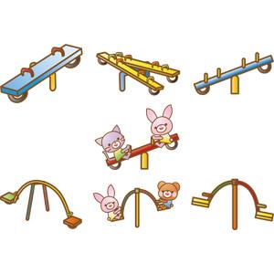 フリーイラスト, ベクター画像, AI, 遊具, シーソー, 兎(ウサギ), 猫(ネコ), 熊(クマ)