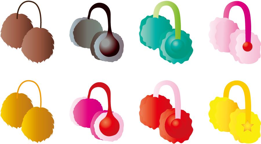 フリーイラスト 8種類の耳あてのセット